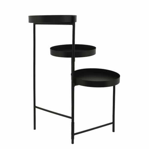 Metal, 32 H 3-Layered Plant Stand, Black Perspective: front