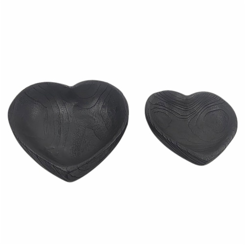 Wood, S/2 9/10  Heart Bowls, Black Perspective: front