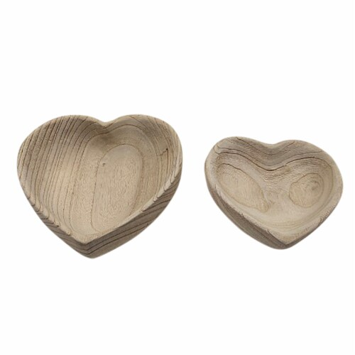 Wood, S/2 9/10  Heart Bowls, Natural Perspective: front