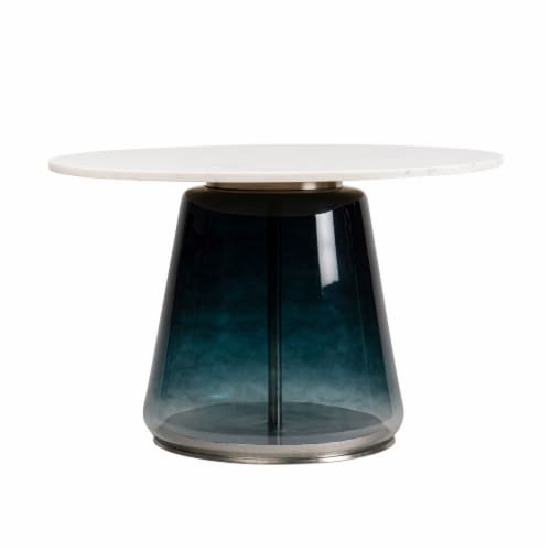 """Marble Top, 19""""H Coffee Table Glass Base, Blue Perspective: front"""