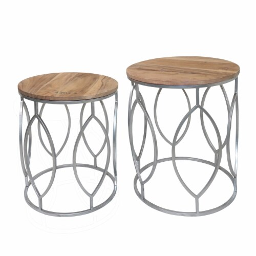 Metal, S/2 19/21 H Side Tables Wood Top, Brown/Sil Perspective: front
