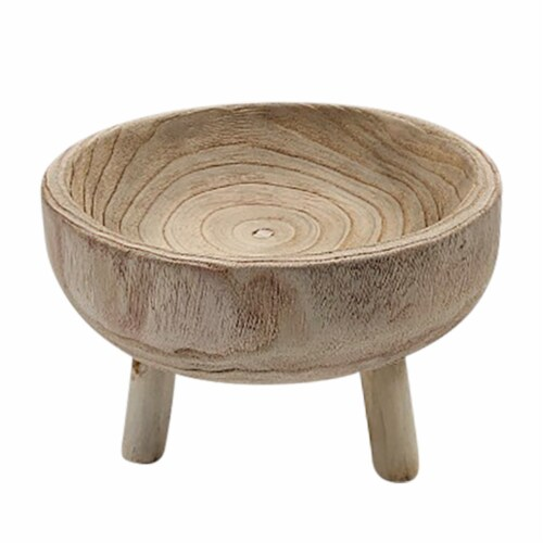 Wood 11  Bowl With Legs, Natural Perspective: front