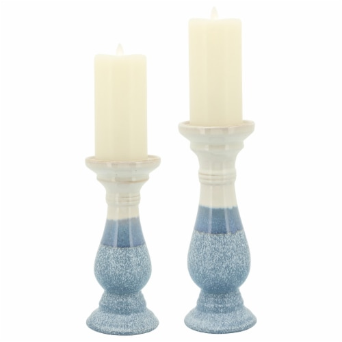 Cer, 12 H Candle Holder, Skyblue Perspective: front