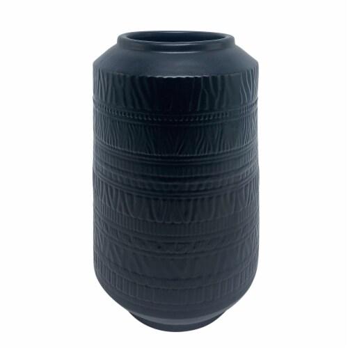 Ceramic 14 H Tribal Look Vase, Navy Perspective: front
