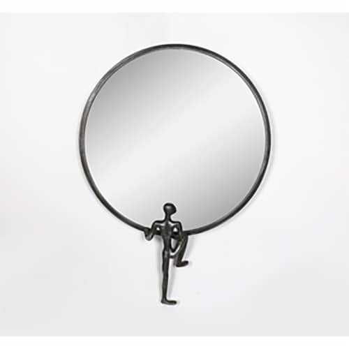 Metal, 24 H, Mirror With Man Deco, Black Perspective: front