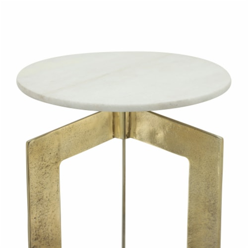 Metal, 25 H, Side Table With White Marble Top, Gld Perspective: front