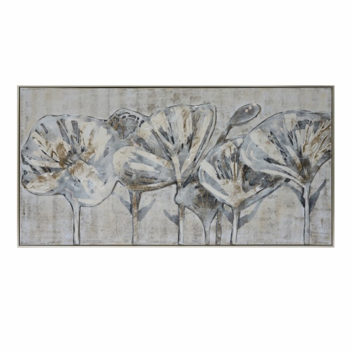 61X31, Flowers Oil Painting, Gray Perspective: front