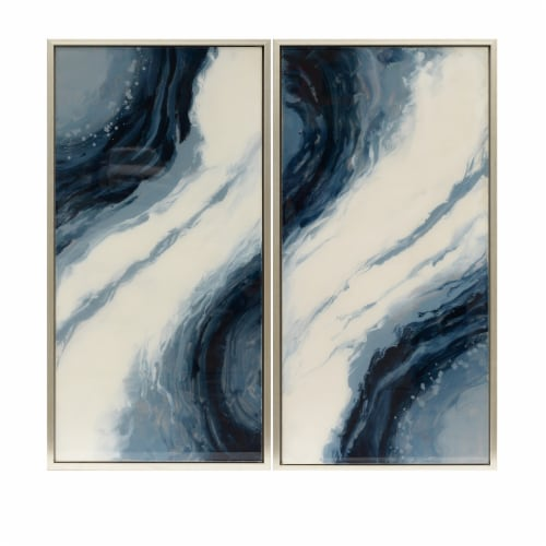 42X22, S/2, Abstract Oil Painting, Blue/Wht Perspective: front