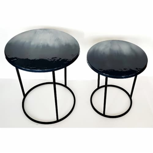 Metal, S/2 22/24  Round Side Tables, Ombre Black Perspective: front