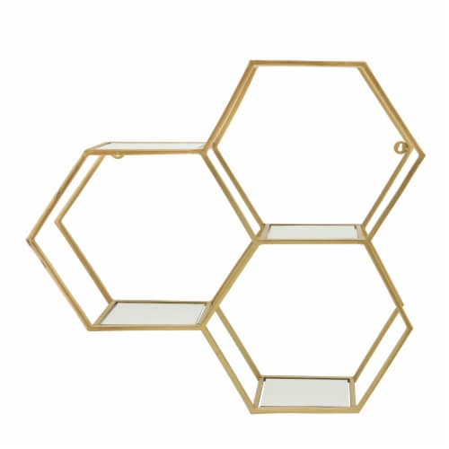 Metal, 28  Mirrored Honeycomb Wall Shelf, Gold Perspective: front