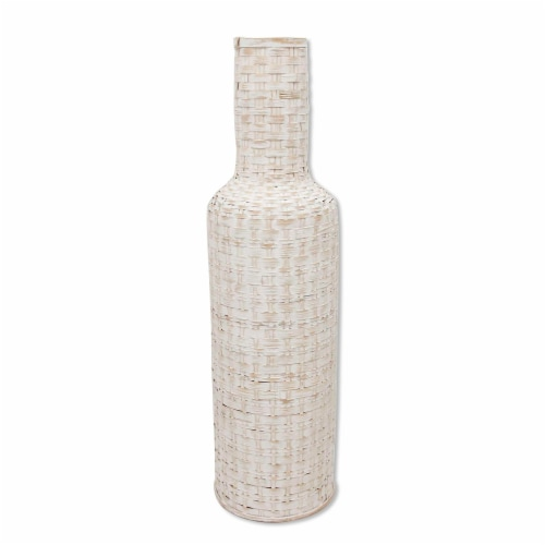 30 H Woven Vase, White Perspective: front
