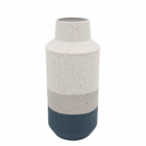 Metal, 14 H Textured Vase, White/Blue Perspective: front