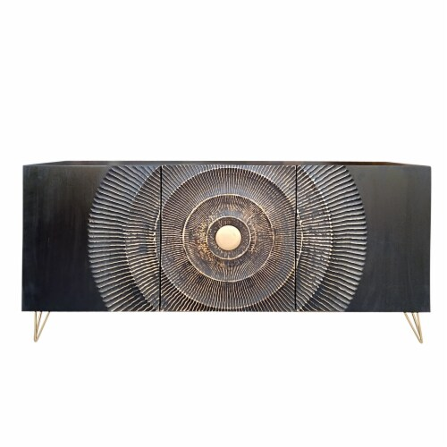 Wood, 63X30 Carved Circle Console Cabinet, Black Perspective: front