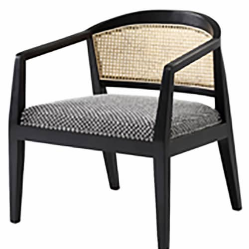 Wood, Woven Back Accent Chair, Textured Gray Perspective: front