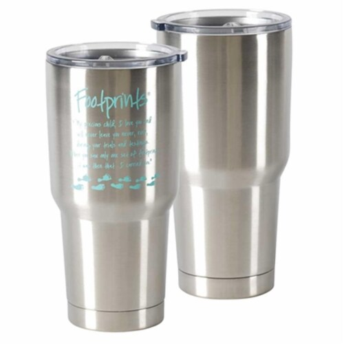 Dicksons SSTUM-7 30 oz Footprints Stainless Steel Tumbler Perspective: front