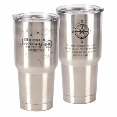 Dicksons SSTUM-9 8 x 4 in. 30 oz Stainless Steel Large Tumbler - Life is About the Journey & Perspective: front
