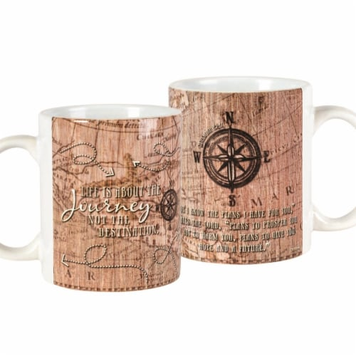 Dicksons MUG-1074 11 oz Ceramic Mug - Life is About the Journey & Jeremiah 29-11 Perspective: front