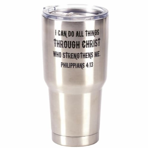 Dicksons SSTUM-15 8 x 4 in. 30 oz Stainless Steel Tumbler with Lid - I Can Do All Things Thro Perspective: front