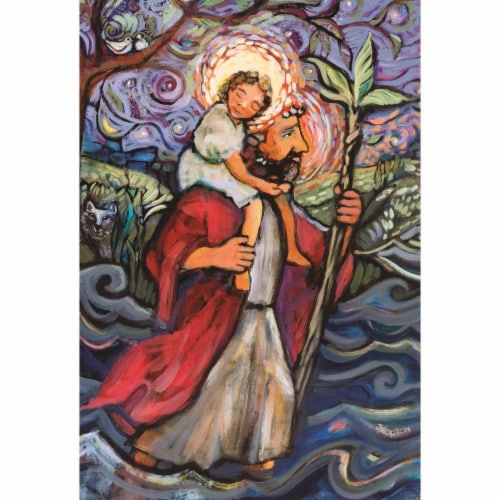 Dicksons FLAG-1033 13 x 18 in. St. Christopher Polyester Outdoor Garden Flag Perspective: front