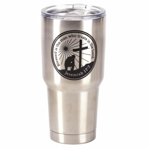 Dicksons 8 x 4 in. 30 oz Man of God Stainless Steel Tumbler with Lid Perspective: front
