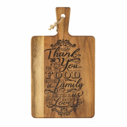 Dicksons Acacia Wood Cutting Board - Thank You for the Food Perspective: front