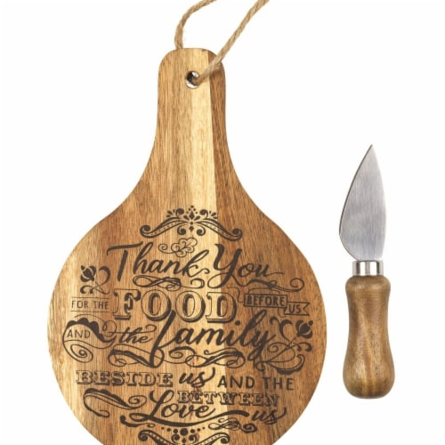 Dicksons Wood Cheese Serving Board - Thank You for Food Perspective: front