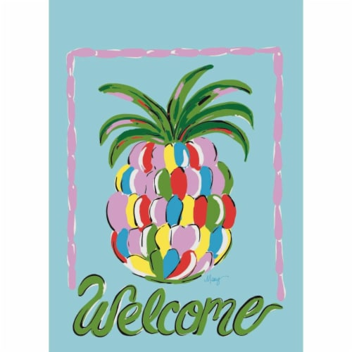 Magnolia Garden Flags M010015 13 x 18 in. Pinapple Welcome Polyester Garden Flag Perspective: front