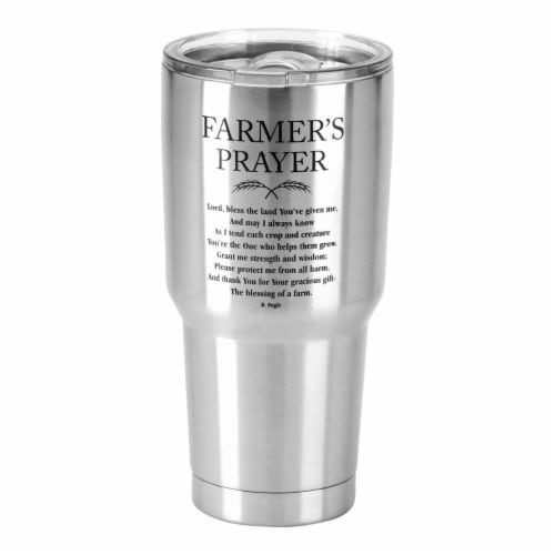 Dicksons SSTUM-23 30 oz Stainless Steel Cold or Hot Cup Tumbler - Farmers Prayer Perspective: front