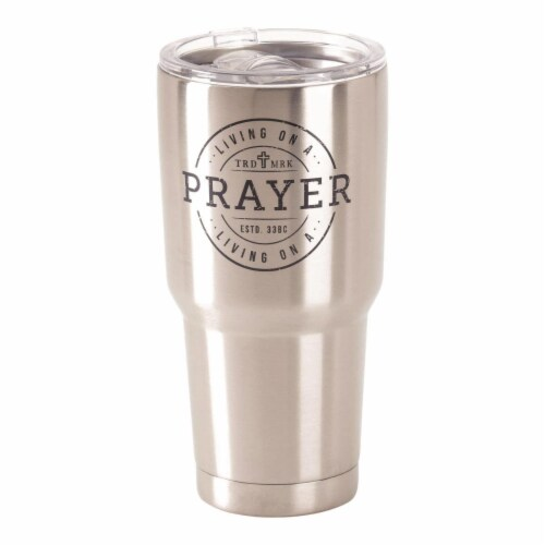 Dicksons SSTUM-38 30 oz Stainless Steel Cold or Hot Cup Tumbler - Living on a Prayer Perspective: front