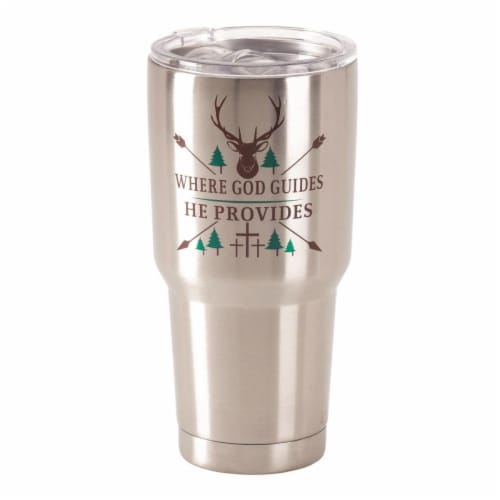Dicksons SSTUM-40 30 oz Stainless Steel Cold or Hot Cup Tumbler - Where God Guides Perspective: front