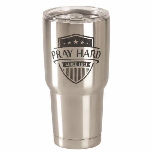 Dicksons SSTUM-45 30 oz Pray Hard Luke 18-1 Stainless Steel Tumbler Perspective: front