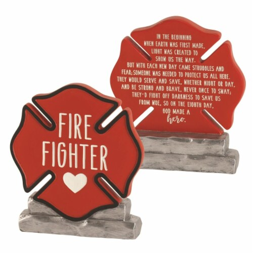 Dicksons FIGR-140 4.625 in. Firefighter Badge Resin Decorative Figure Perspective: front