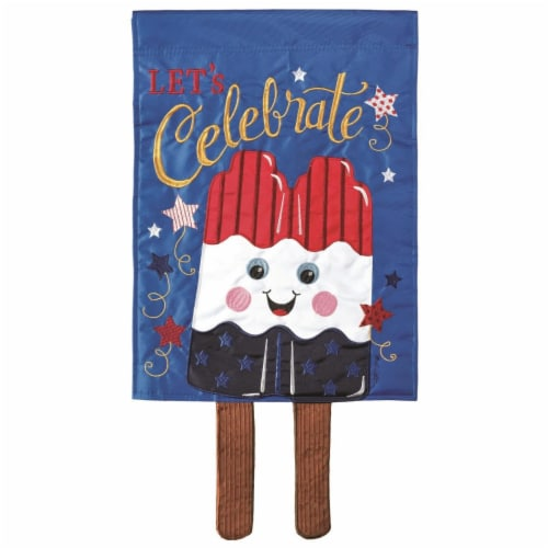 Dicksons M010127 13 x 24 in. Flag Double Applique Popcicle Rwb Stick Polyester Garden Perspective: front
