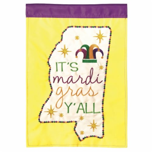 Dicksons M011104 13 x 18 in. Flag Double Applique Mississippi Mardi Gra Polyester Garden Perspective: front