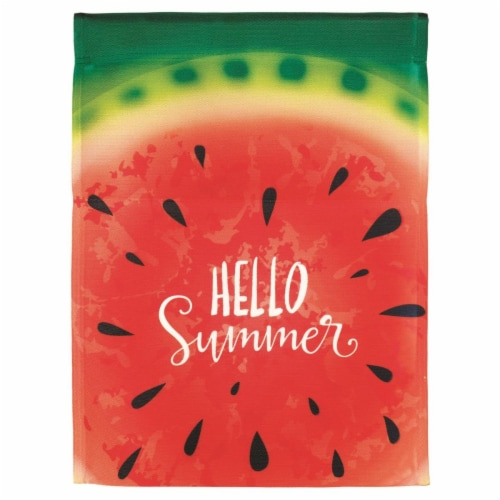 Dicksons M070080 30 x 44 in. Flag Print Hello Summer Watermelon Polyester - Large Perspective: front
