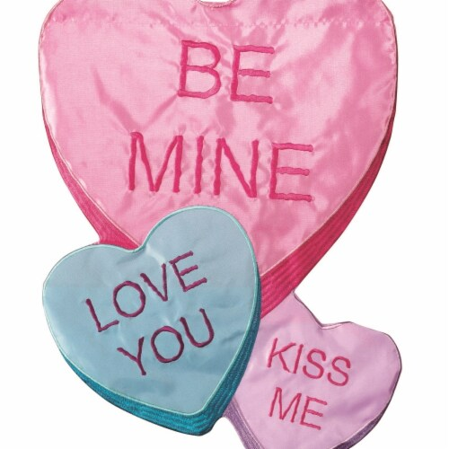 Dicksons M001098 29 x 42 in. Flag Double Applique Be Mini Flag With Pole E Candy Hearts Polye Perspective: front
