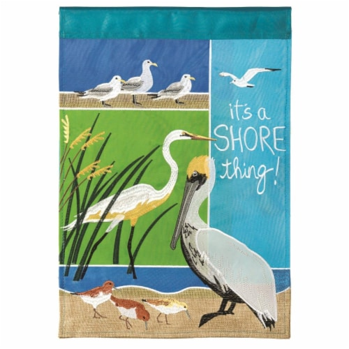 Dicksons M001125 29 x 42 in. Flag Double Applique Coastal Birds Polyester - Large Perspective: front
