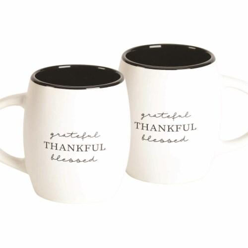 Dicksons MUG-1501 15.3 oz Mug Grateful Thankful Bless Stoneware Perspective: front