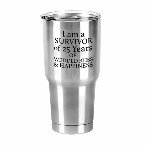 Dicksons ESSTUM-2 30 oz Stainless Steel Tumbler I Am A Survivor of 25 Years Perspective: front