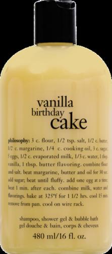 Philosophy Vanilla Birthday Cake Shampoo Shower Gel & Bubble Bath Perspective: front