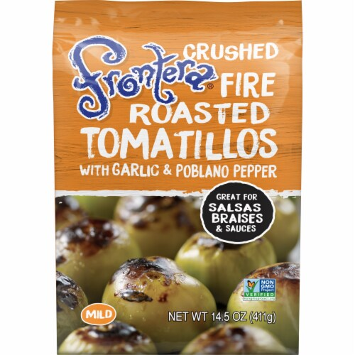 Frontera Gourmet Mexican Crushed Fire-Roasted Tomatillos with Garlic + Poblano Perspective: front