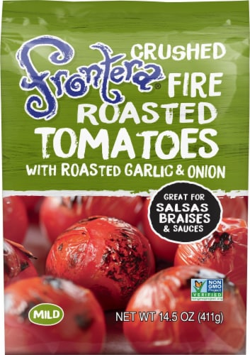 Frontera Gourmet Mexican Crushed Fire-Roasted Tomatoes with Roasted Garlic + Onion Perspective: front