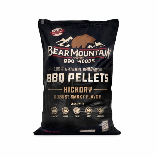 Bear Mountain BBQ Premium All-Natural Hardwood Hickory BBQ Smoker Pellets, 40 lb Perspective: front