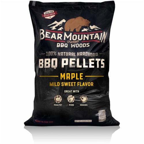 Bear Mountain BBQ 100% Natural Hardwood Maple Sweet Flavor Pellets, 20 Pounds Perspective: front