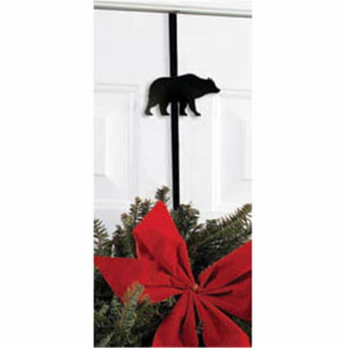 Village Wrought Iron WRE-B-14 Bear Wreath Hanger Perspective: front