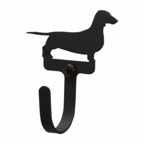 Village Wrought Iron Village Dachsund Black Wrought Iron Small Wall Hook Perspective: front