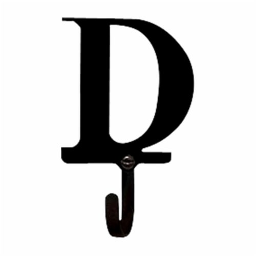 3.63 Inch Letter D Wall Hook Small Perspective: front
