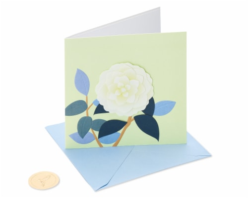 Papyrus Blank Card (White Rose) Perspective: front