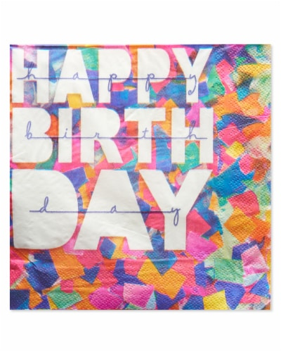 American Greetings Confetti Birthday Paper Napkins Perspective: front