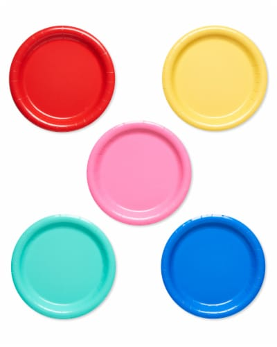 American Greetings Assorted Colors Paper Dessert Plates Perspective: front